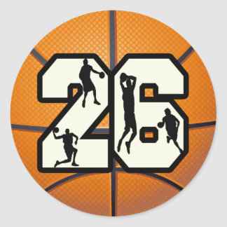 Number 26 Basketball Classic Round Sticker