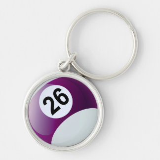 Number 26 Billiards Ball Silver-Colored Round Keychain