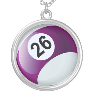 Number 26 Billiards Ball Silver Plated Necklace