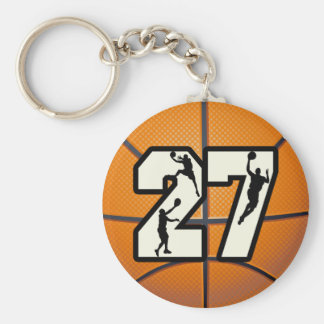 Number 27 Basketball Keychain