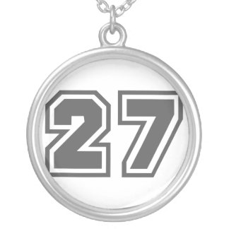 Number 27 silver plated necklace