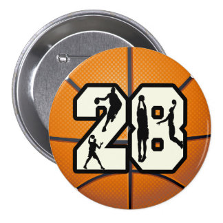 Number 28 Basketball 3 Inch Round Button