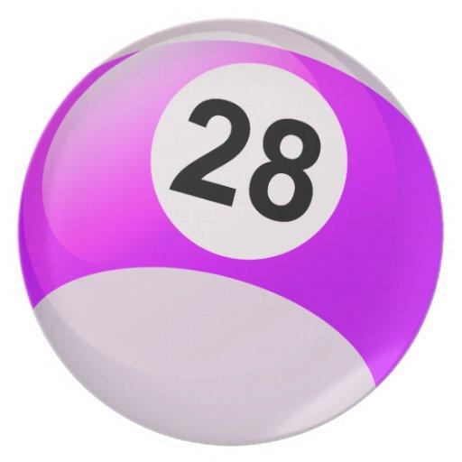 Number 28 Billiards Ball Dinner Plates Zazzle