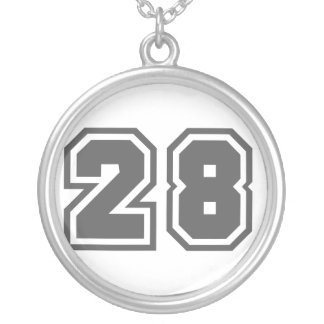 Number 28 round pendant necklace