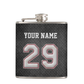 Number 29 Baseball Stitches with Black Metal Look Hip Flask