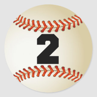 Number 2 Baseball Classic Round Sticker