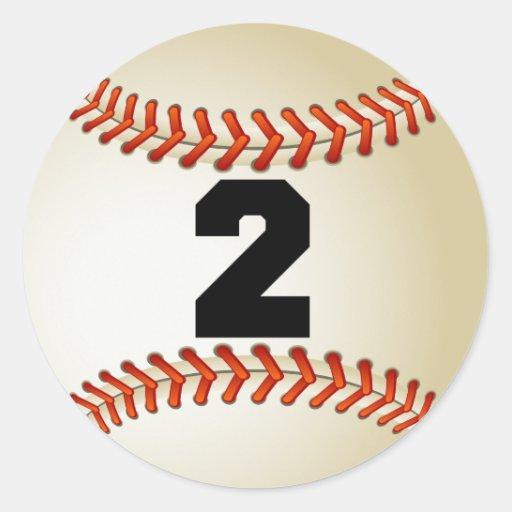 Number 2 Baseball Classic Round Sticker Zazzle