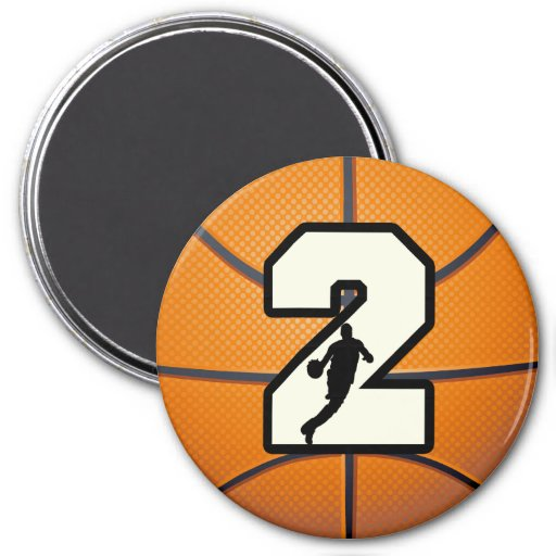 Number 2 Basketball and Player 3 Inch Round Magnet