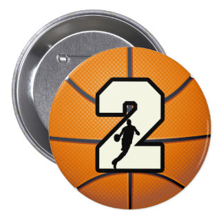 Number 2 Basketball and Player 3 Inch Round Button