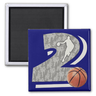 Number 2 Basketball and Player Design Magnet