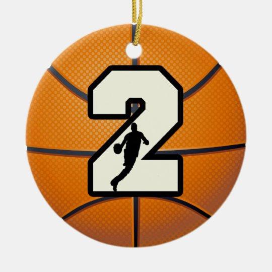 Number 2 Basketball Ceramic Ornament