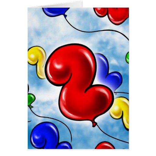 Number 2 Birthday Balloon.jpg Greeting Card
