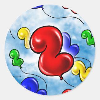 Number 2 Birthday Balloon.jpg Classic Round Sticker