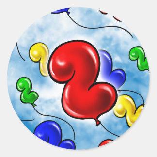 Number 2 Birthday Balloon.jpg Round Sticker