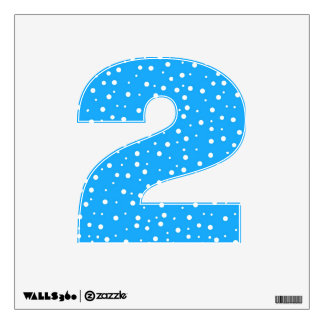 Number 2 Decal - Polka Dots on Blue
