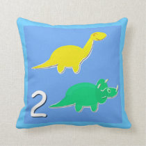 Number 2 Dinosaurs Numbers 1 - 10 Counting Throw Pillow