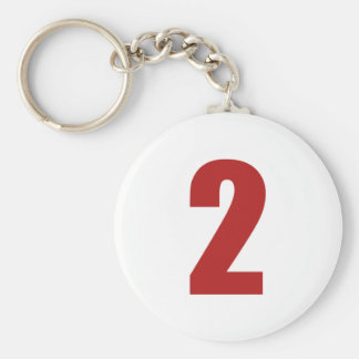Number 2  in red on white button keychain