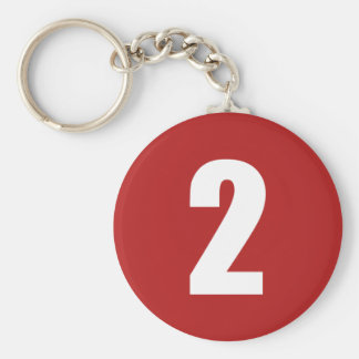 Number 2  in white on red button keychain