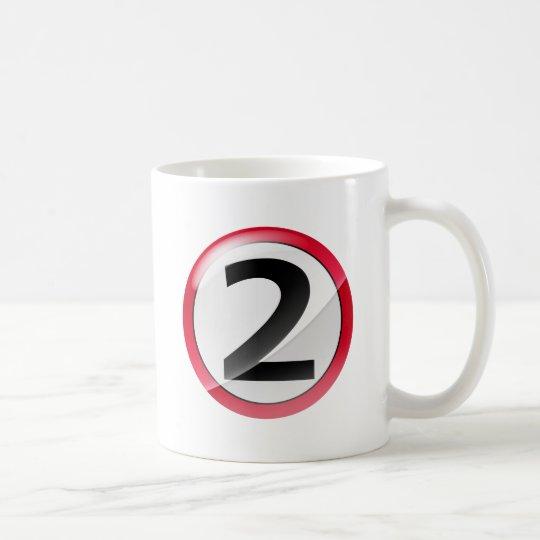 Number 2 red coffee mug
