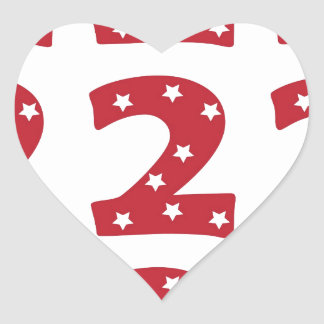 Number 2 - White Stars on Dark Red Heart Sticker