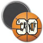 Number 30 Basketball Fridge Magnet