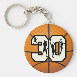 Number 30 Basketball Key Chain