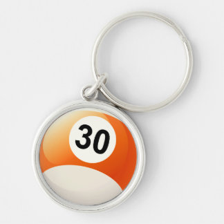 Number 30 Billiards Ball Keychain