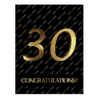Number 30 Black Gold 30th Birthday Anniversary Postcard