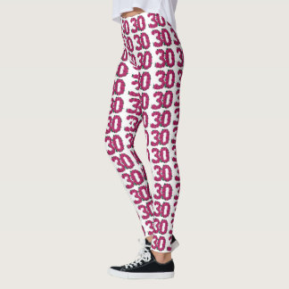 Number 30 leggings 30th birthday cute pink roses
