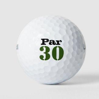 Number 30 par golf course for 30th birthday golfer golf balls