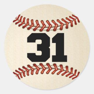 Number 31 Baseball Classic Round Sticker