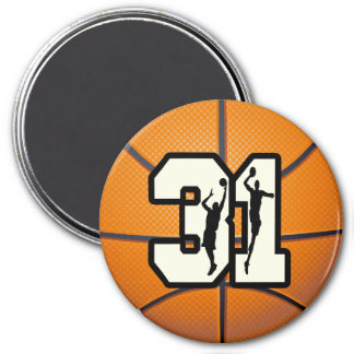 Number 31 Basketball 3 Inch Round Magnet
