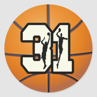 Number 31 Basketball Classic Round Sticker