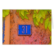 Number # 31 Study in Blue, Ivy Leaves Card