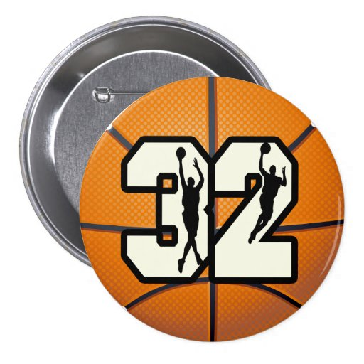 Number 32 Basketball 3 Inch Round Button
