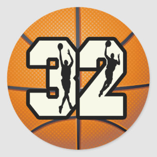 Number 32 Basketball Classic Round Sticker