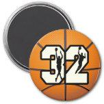 Number 32 Basketball Refrigerator Magnet