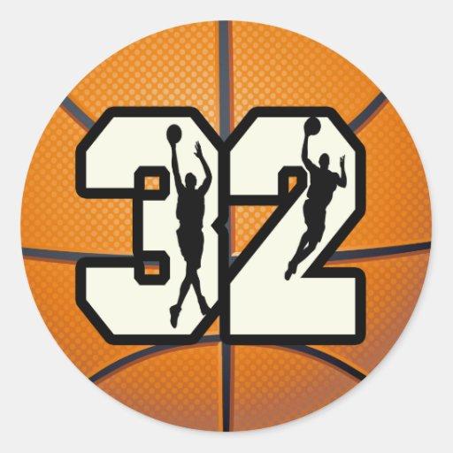 Number 32 Basketball Sticker