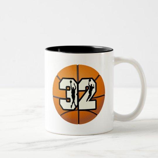 Number 32 Basketball Two-Tone Coffee Mug