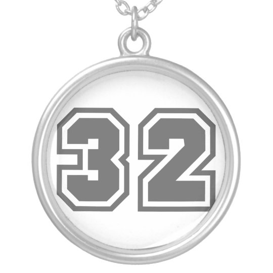 Number 32 silver plated necklace