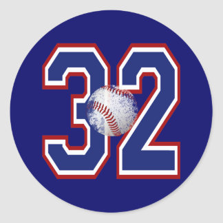 NUMBER 32 WITH BASEBALL CLASSIC ROUND STICKER