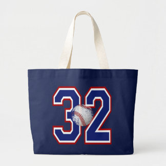 NUMBER 32 WITH BASEBALL LARGE TOTE BAG