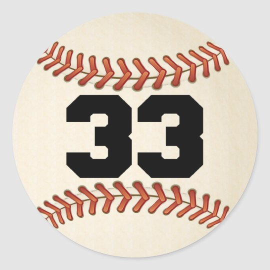 Number 33 Baseball Classic Round Sticker