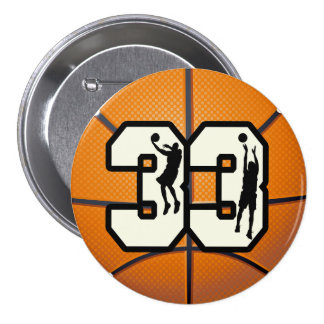 Number 33 Basketball 3 Inch Round Button