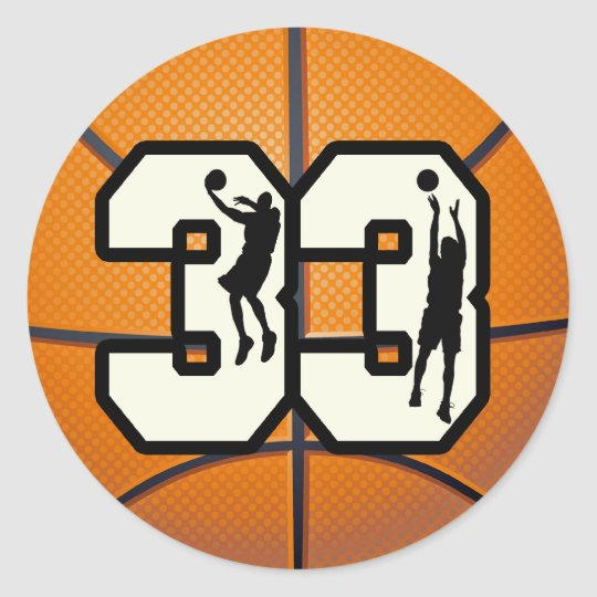 Number 33 Basketball Classic Round Sticker
