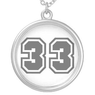 Number 33 round pendant necklace