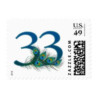 NUMBER 33 -  Thirty three Postage Stamp