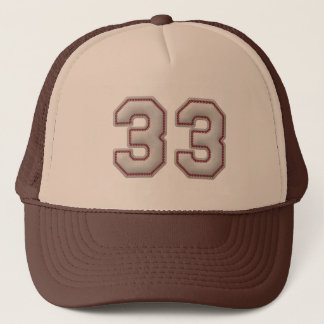 Number 33 with Cool Baseball Stitches Look Trucker Hat