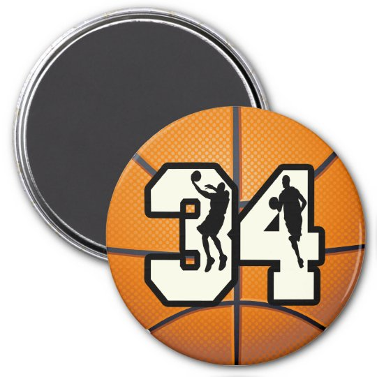 Number 34 Basketball 3 Inch Round Magnet