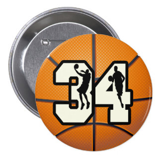 Number 34 Basketball Button